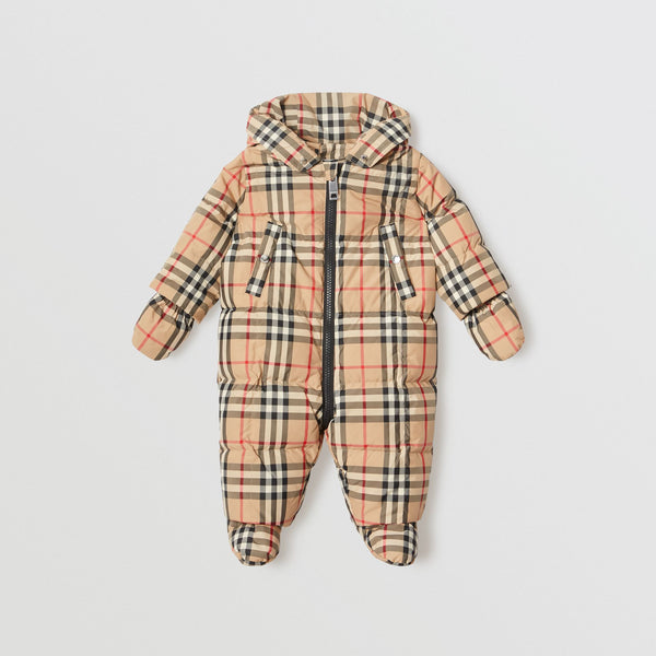 Baby Boys & Girls Archive Beige Padded Down Jumpsuit