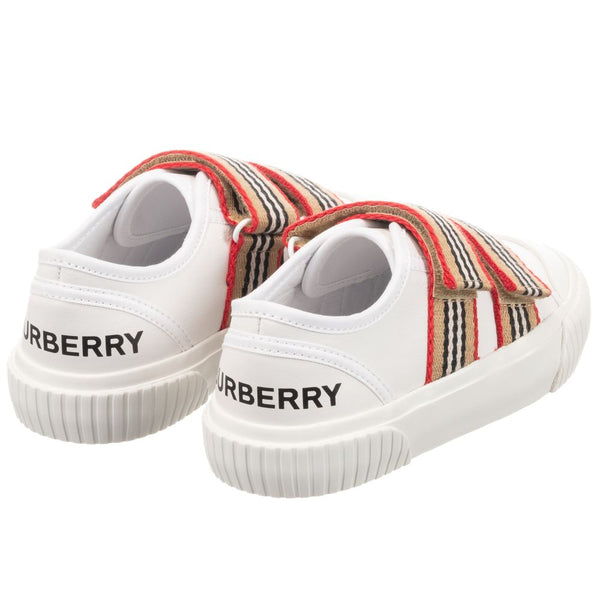 Boys & Girls White Lconic Striped Leather Sneakers