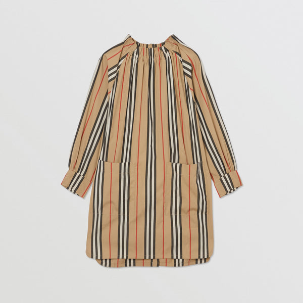 Girls Beige Striped Cotton Dress