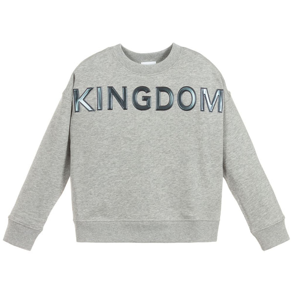 Girls Grey Logo Cotton Sweater