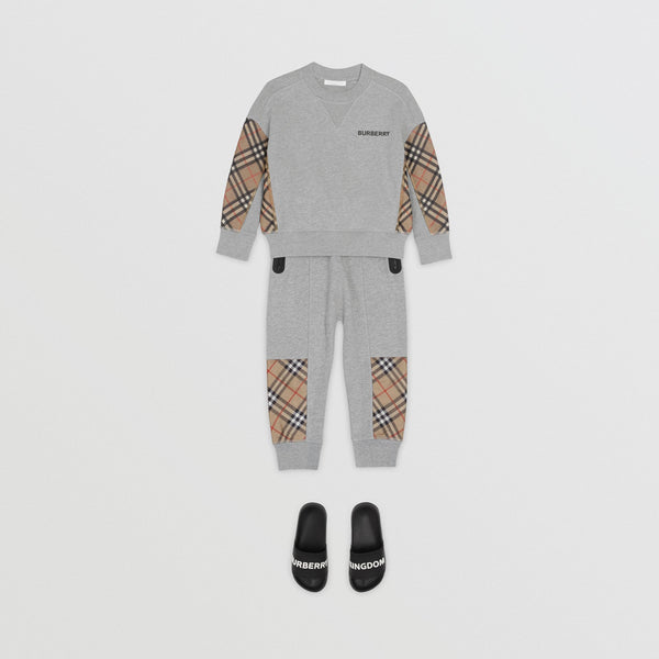 Boys Grey & Check Cotton Trousers