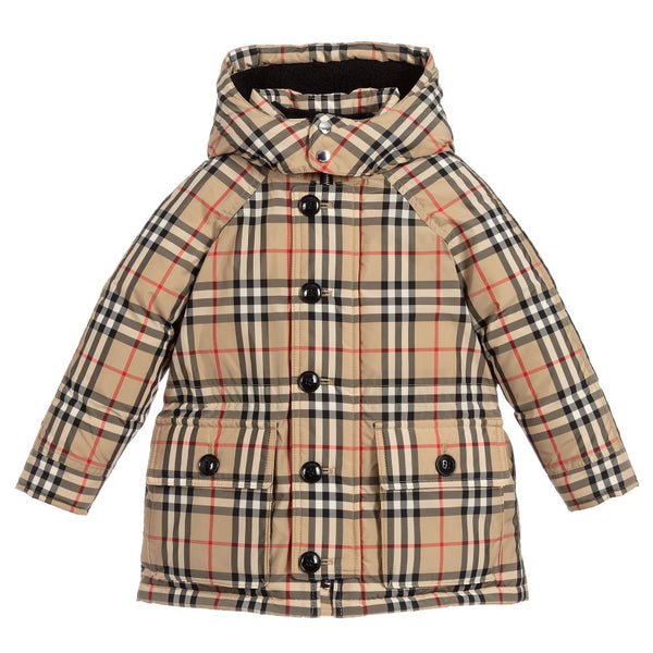 Girls Archive Beige Check Padded Down Coat