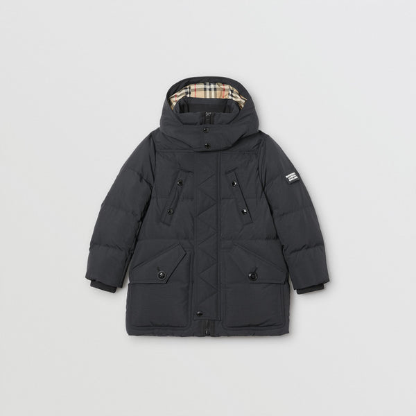 Boys Black Pocket Padded Down Coat