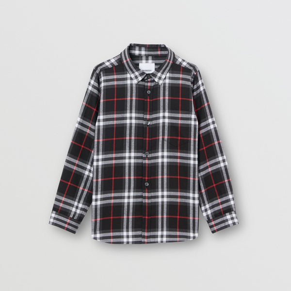 Boys Black Check Cotton Shirt