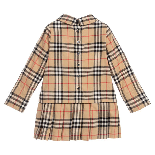 Girls Beige Check Cotton Dress