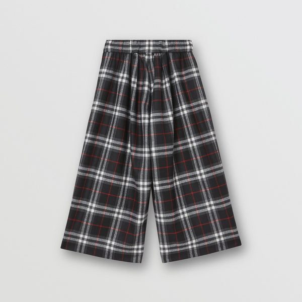 Girls Black Check Virgin Wool Trousers