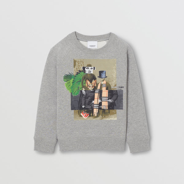 Boys Grey Printed Cotton Sweater