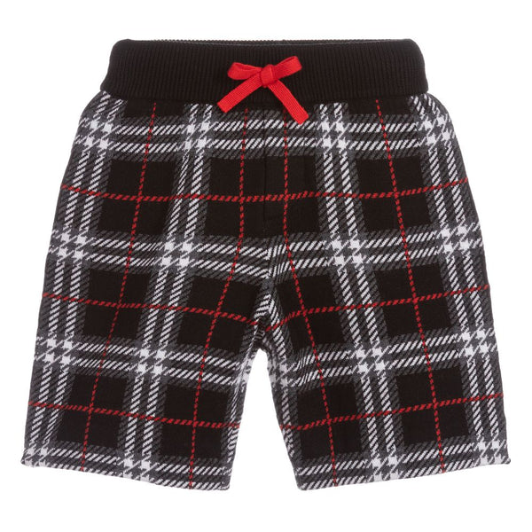 Boys Black Check Wool Shorts