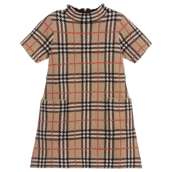 Girls Beige Check Wool Dress
