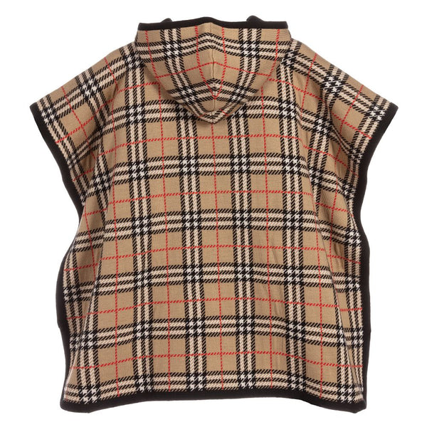 Girls Beige Check Wool Coat