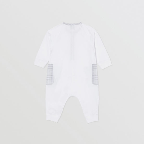 Baby Boys & Girls White Cotton Babysuit