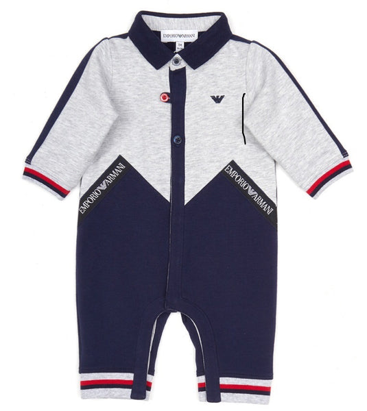 Baby Boys Grey & Blue Cotton Babysuit