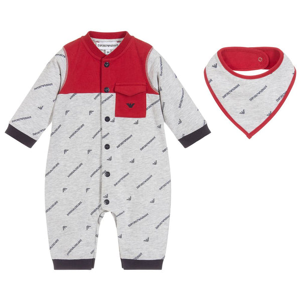 Baby Boys Grey Logo Cotton Set