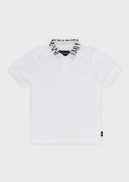 Boys White Logo Cotton Polo Shirt
