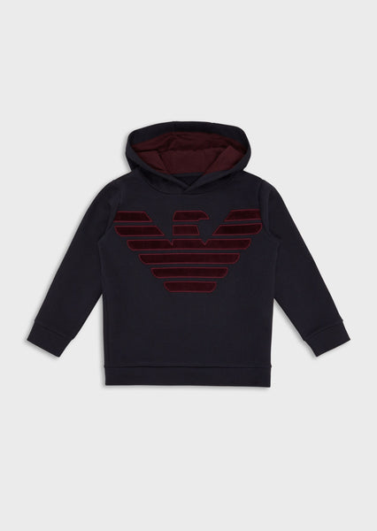 Boys Navy Blue Hooded Cotton Sweatshirt