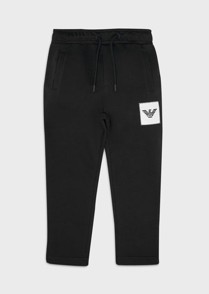 Boys Black Logo Cotton Trousers