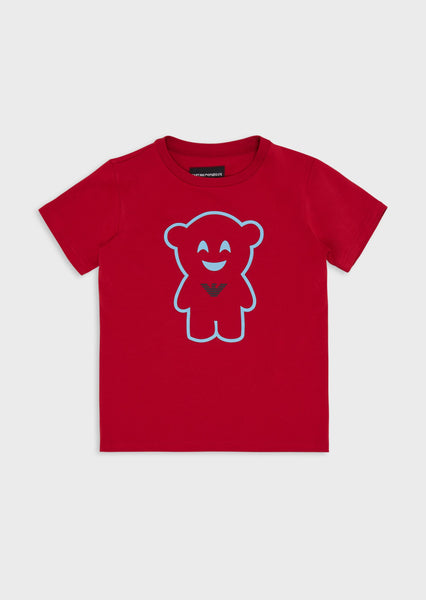 Boys Red Printed Cotton T-shirt