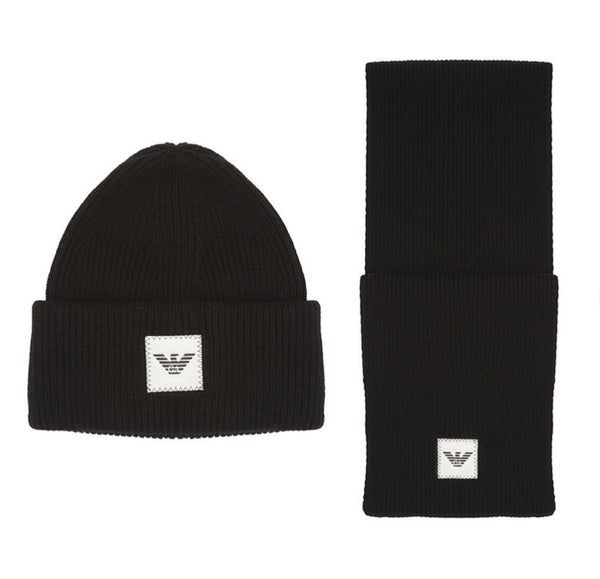 Boys Black Logo Beanie Hat Set