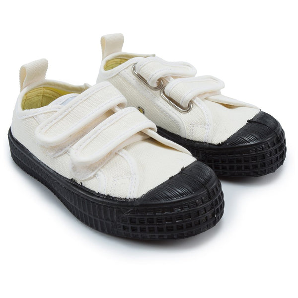 Boys White & Black Velcro Shoes