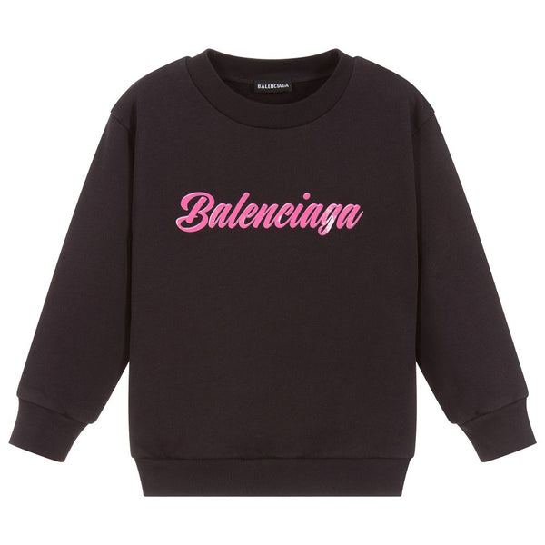 Boys & Girls Black Logo Cotton Sweatshirt