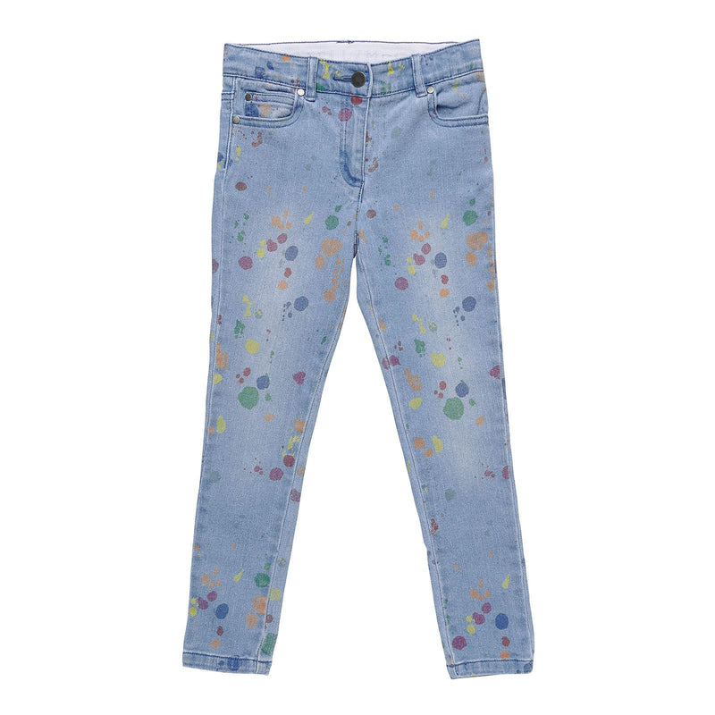 Girls Blue Denim Jeans With Multicolour Splat Print Trims - CÉMAROSE | Children's Fashion Store