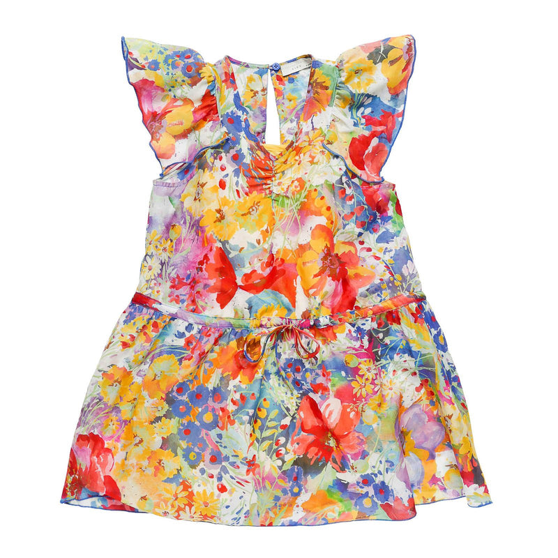 Girls Multicolor Floral Printed Woven Dress With Frill Hemline - CÉMAROSE | Children's Fashion Store