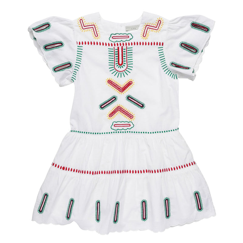 Girls White Cotton Dress With Zig Zag Embroidered Trims - CÉMAROSE | Children's Fashion Store
