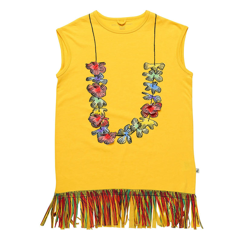 Girls Yellow Cotton Jersey Dress With Floral Print Trims - CÉMAROSE | Children's Fashion Store