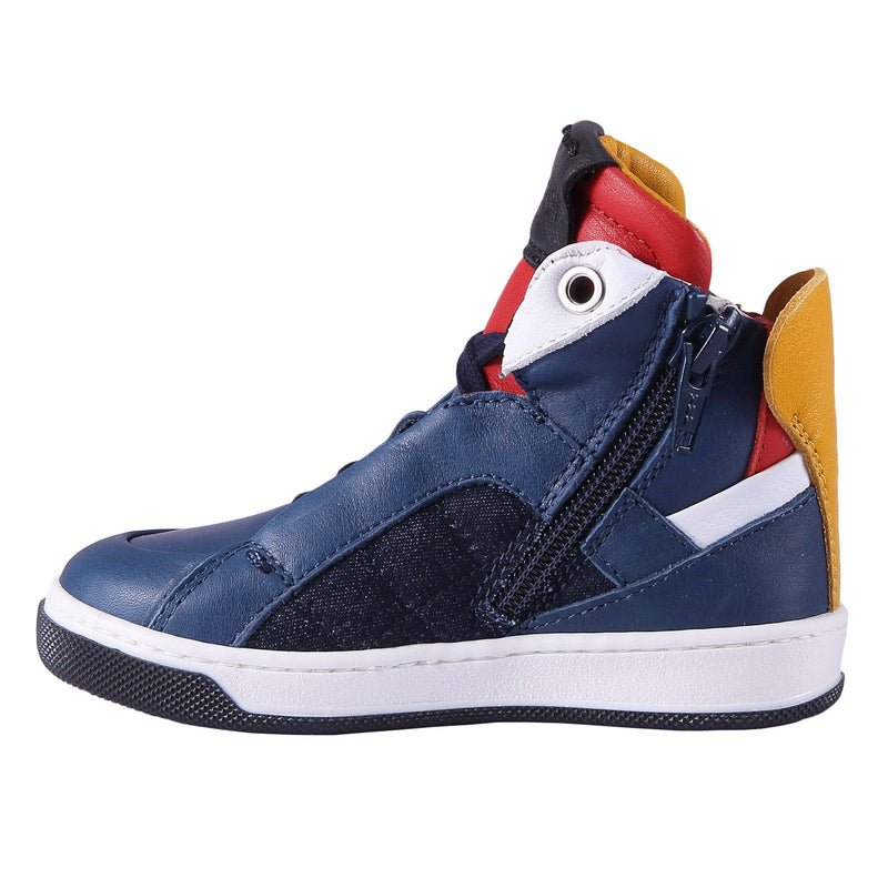 Boys Blue 'Monster' Leather High-Top Trainers - CÉMAROSE | Children's Fashion Store - 3