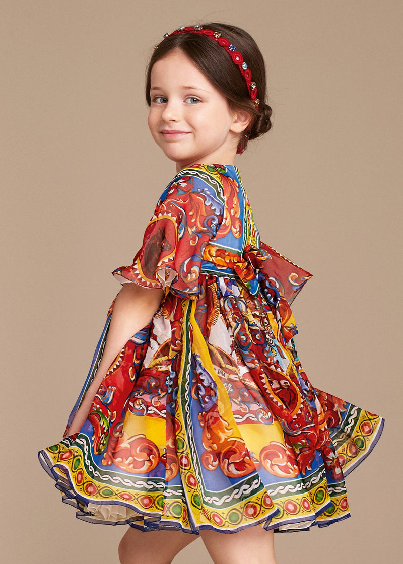 Girls Multicolor Printed Silk Chiffon Dress - CÉMAROSE | Children's Fashion Store - 2