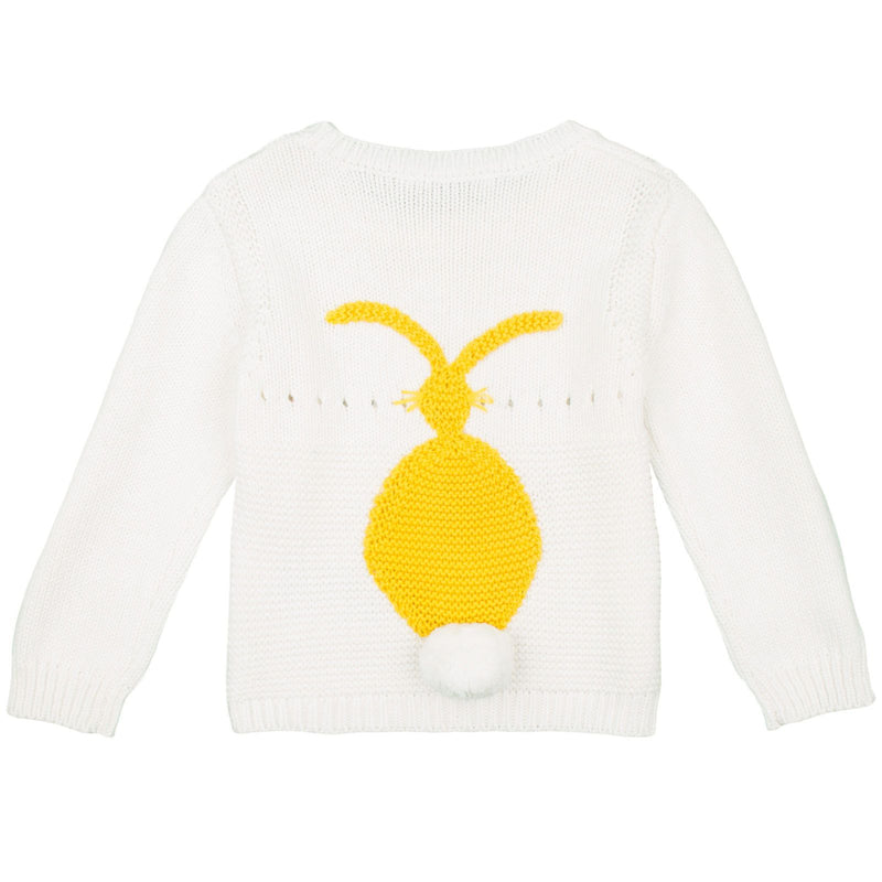 Thumper Baby Ivory Cotton Cashmere Knitted Sweater With Yellow Bunny Print - CÉMAROSE | Children's Fashion Store - 3