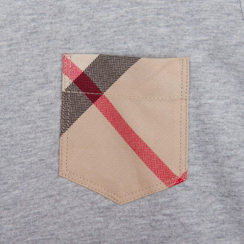 Boys Grey Cotton T-Shirts With Check Pocket - CÉMAROSE | Children's Fashion Store - 3