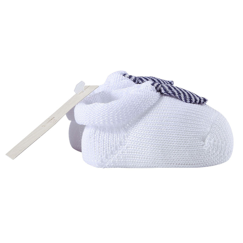 Baby White Knitted Cotton Shoes With Blue Tie Trims - CÉMAROSE | Children's Fashion Store - 3