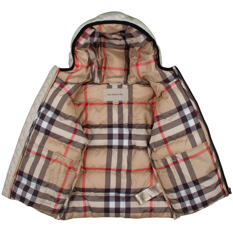 Boys Olive Green Classic Puffer Jacket  With Beige Check Hood - CÉMAROSE | Children's Fashion Store - 3