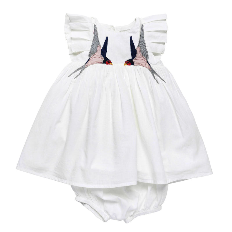 Baby Girls White Cotton Bird Embroidered Trims Dress With Bloomres - CÉMAROSE | Children's Fashion Store