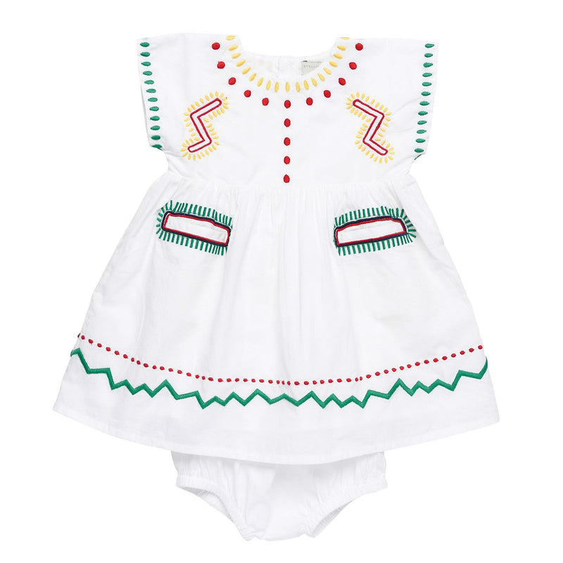 Baby Girls White Cotton Zig Zag Embroidered Trims Dress With Bloomres - CÉMAROSE | Children's Fashion Store