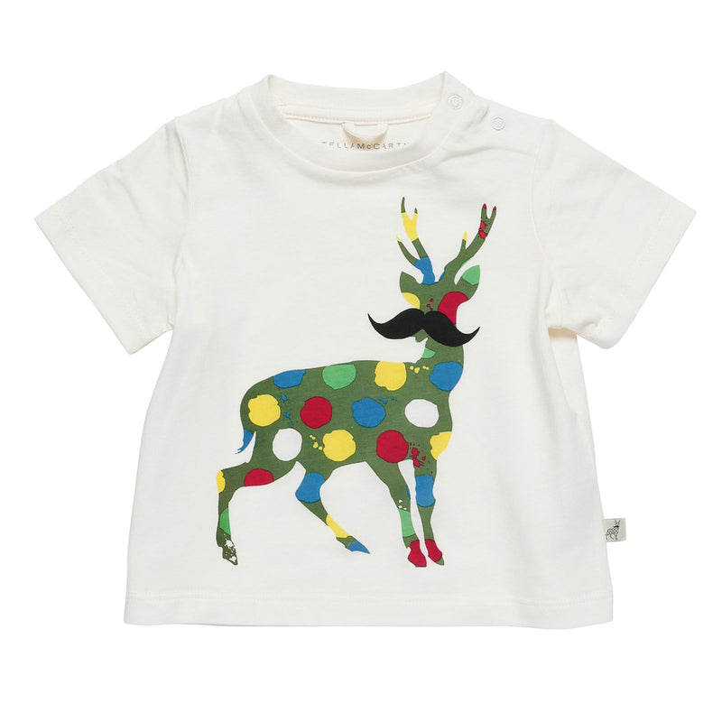Baby Girls White Stella McCartney Kids Logo Green Deer Printed Cotton T-Shirt - CÉMAROSE | Children's Fashion Store