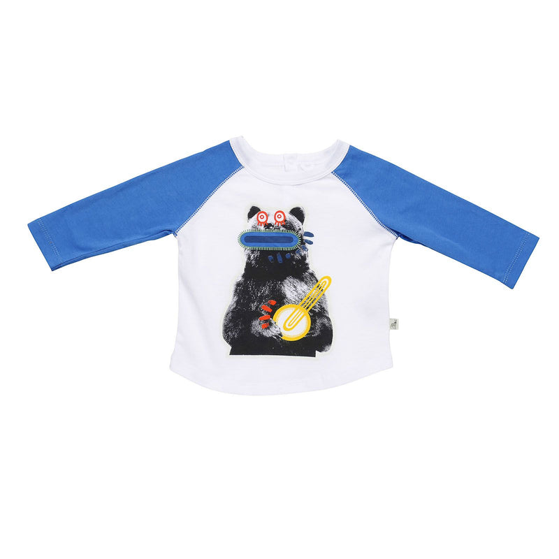 Baby Girls White Zig Zag Bear Printed Cotton T-Shirt With Blue Cuffs - CÉMAROSE | Children's Fashion Store
