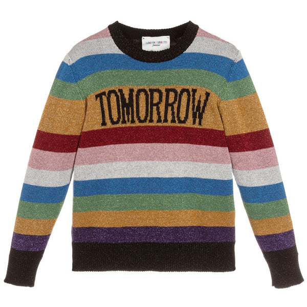 Girls Glittery Stripes Sweater