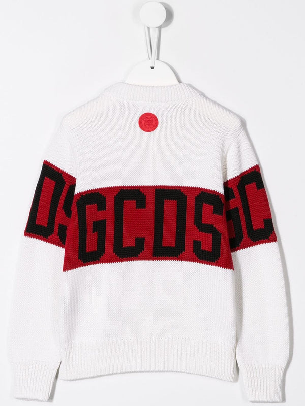 Boys & Girls White Logo Wool Sweater