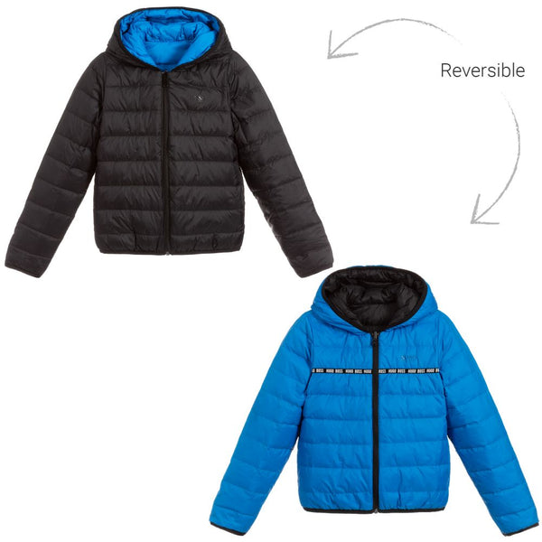Boys Blue & Black Reversible Padded Down Coat