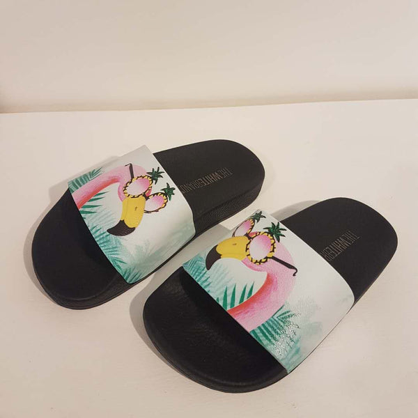 Girls Black Flamingo Flip Flop