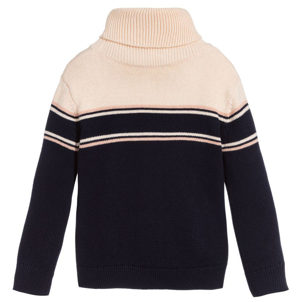 Girls Blue Turtleneck Logo Cotton Sweater