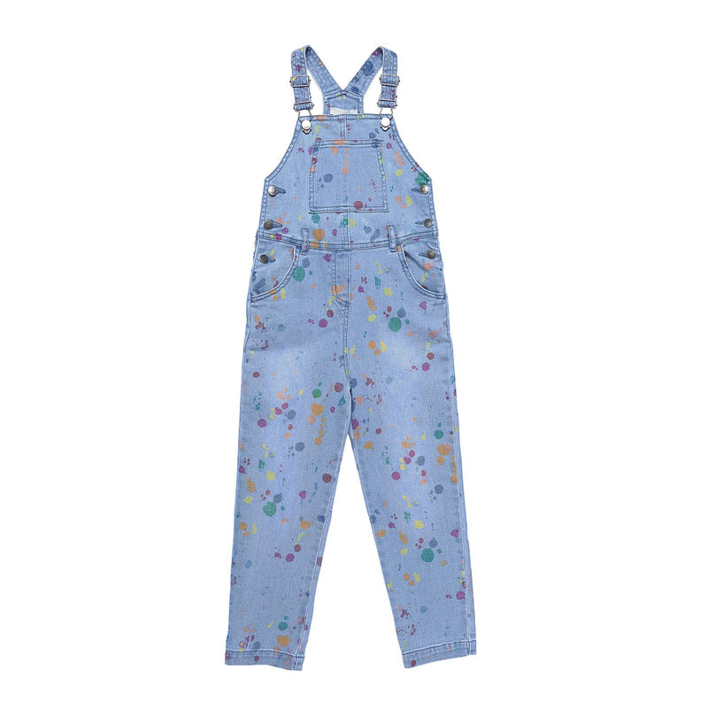Girls Blue Denim Jumpsuit With Multicolour Splat Print Trims - CÉMAROSE | Children's Fashion Store