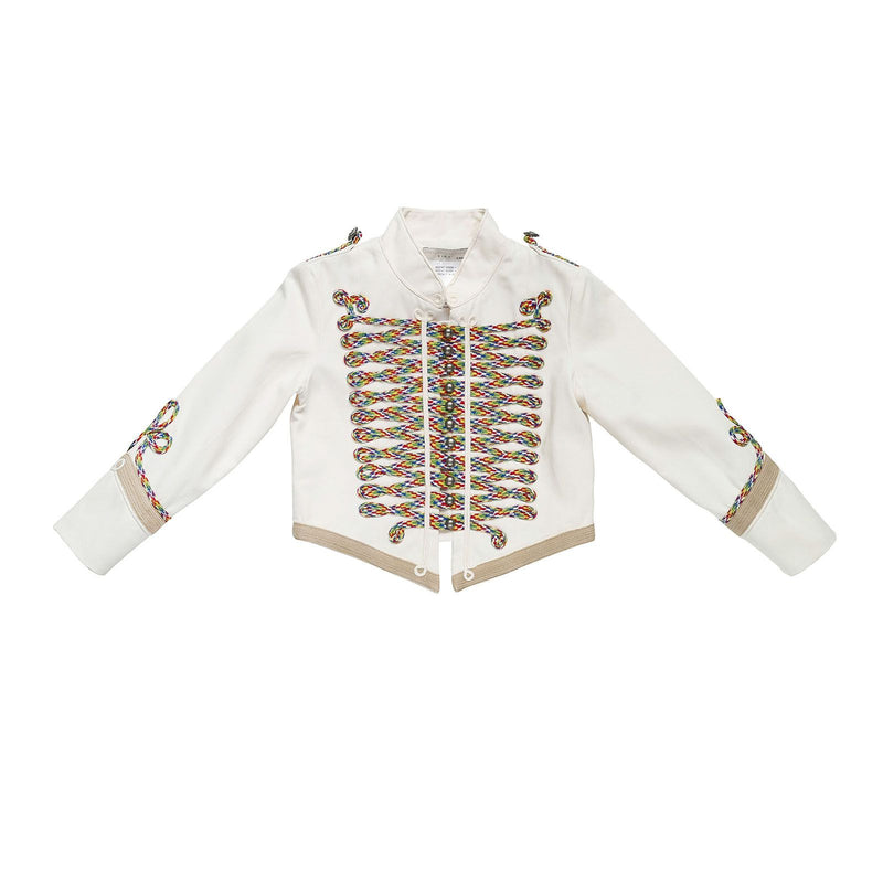 Boys White Cotton Shorts Length Jacket With Braided knot Trims - CÉMAROSE | Children's Fashion Store