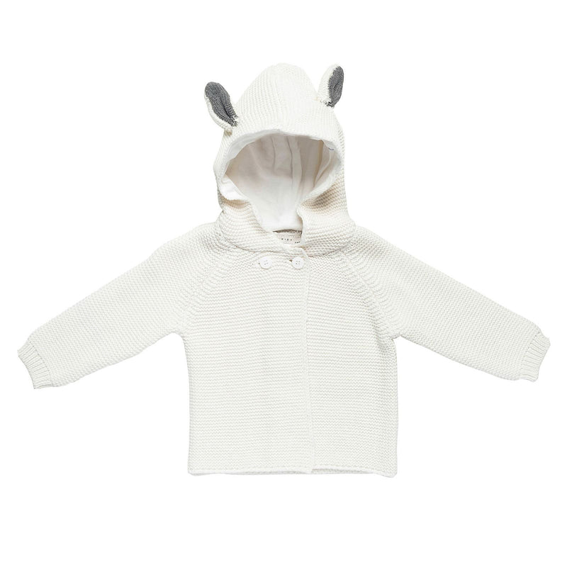Baby White Cotton Knitted Cardigan With Hood Bunny Ears Trims - CÉMAROSE | Children's Fashion Store
