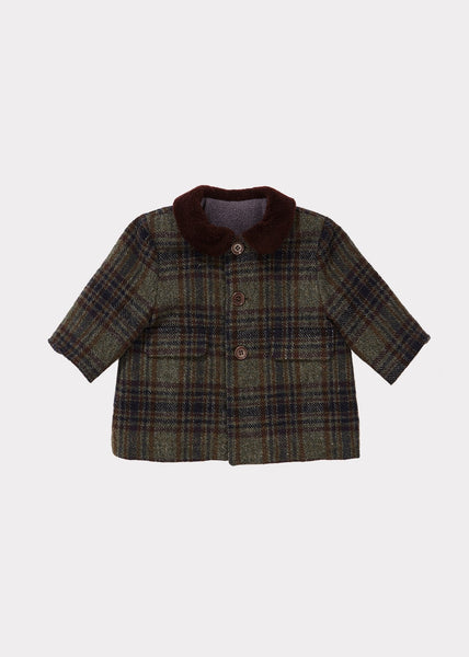 Baby Boys Dark Green Check Wool Coat