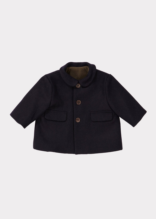 Baby Boys & Girls Navy Wool Coat