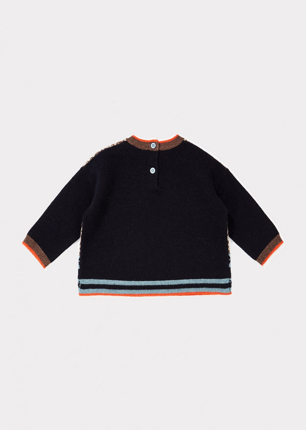 Baby Girls Navy Check Wool Sweater