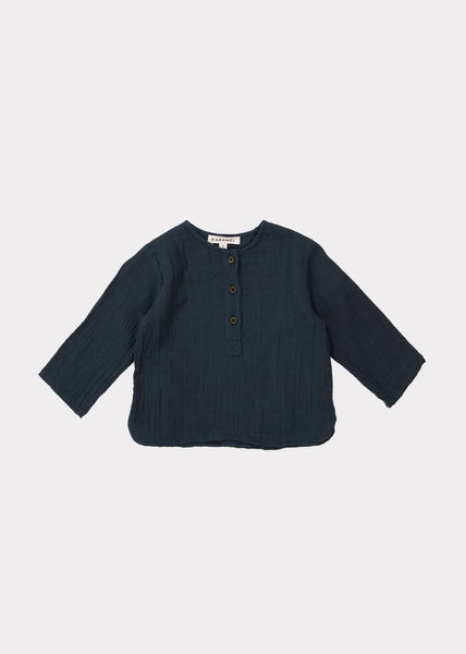 Baby Boys Dark Blue Cotton Shirt